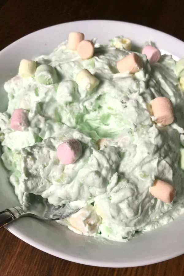 Are you looking for a simple side dish or dessert? This Watergate Salad is a family favorite simple side dish for parties and everyday meals. #pudding #easyrecipe
