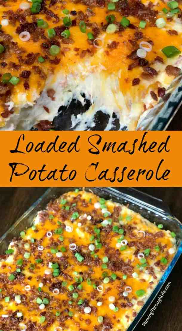 Do you crave smashed potatoes with all the fixings, but need a quicker way to make them?  We're obsessed with this Loaded Smashed Potato Casserole! The bacon, cheese, sour cream, garlic and green onions make this potato casserole irresistible!