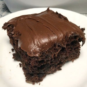 Square piece of super moist chocolate cake, covered in chocolate icing on a white plate