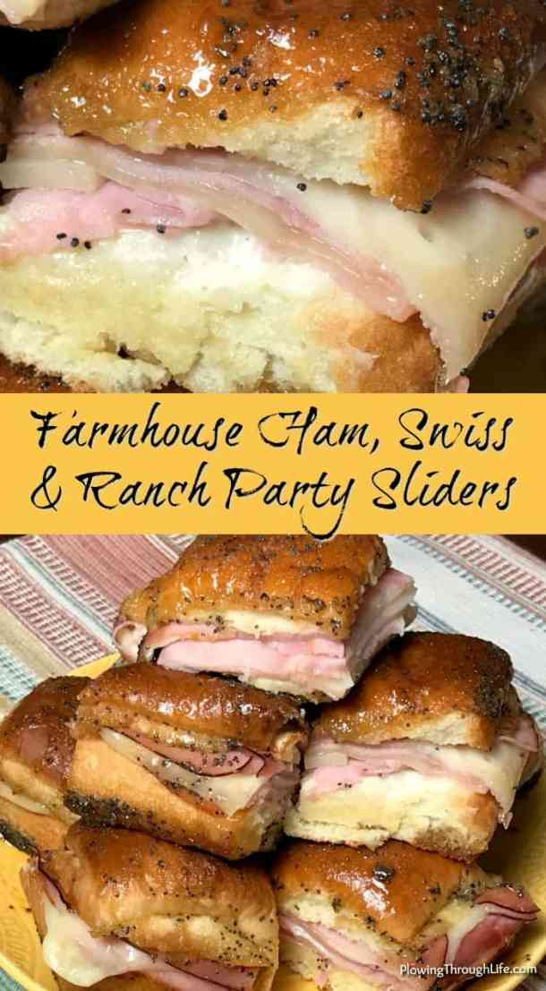 Are you looking for hearty appetizers and easy game day food?  These Farmhouse Ham, Swiss and Ranch Party Sliders are the best tailgate slider!  Our family likes these so much we couldn't stop eating them.  #easyappetizer #tailgate #partyfood