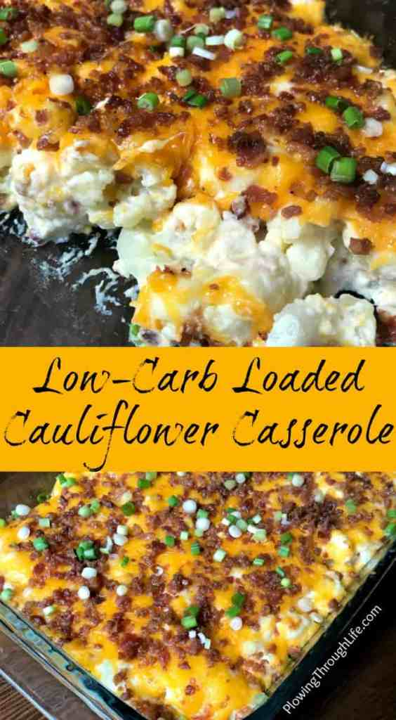 Are you looking for an easy low-carb side dish?  The bacon, cheese, and sour cream make this Easy Low-Carb Loaded Cauliflower Casserole a delicious alternative to potatoes!  This side dish will be a hit at your family dinner table or potluck! #lowcarb #cauliflower