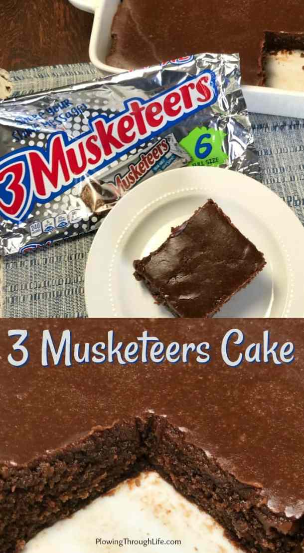 3 Musketeers Cake is the perfect dessert for people who LOVE 3 Musketeers candy bars and cake!  My husband craves 3 Musketeers Bars, so this is the perfect creamy chocolate cake with more creamy chocolate icing spread on top!  #3Musketeers #EasyCake