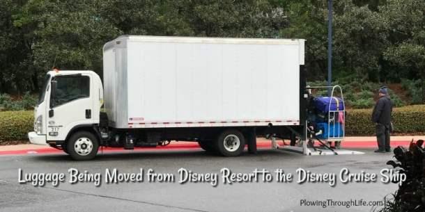 box truck moving luggage from disney world resort to disney cruise ship