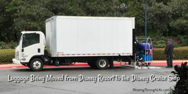 box truck moving luggage from disney world resort to disney cruise ship