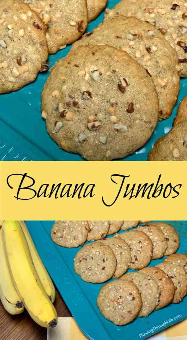 Banana Jumbos are an old-fashioned recipe that tastes like banana bread but in cookie form.  These treats are moist and so easy to make.  Banana Jumbos are the perfect way to use browning bananas to make a handy breakfast or snack.
