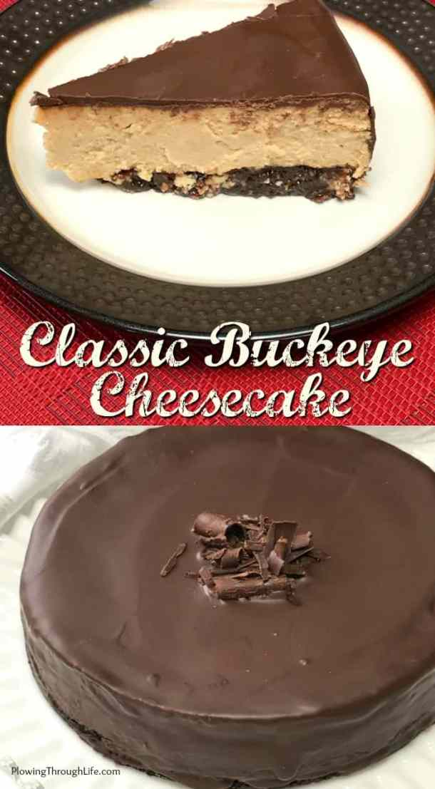 This Classic Buckeye Cheesecake has a brownie crust and is filled with a sweet and creamy peanut butter filling and topped with a layer of chocolate.  It looks like Buckeye candy and tastes like the ultimate Buckeye dessert!  If you bring this cheesecake to a party you won't have any leftovers to bring home!