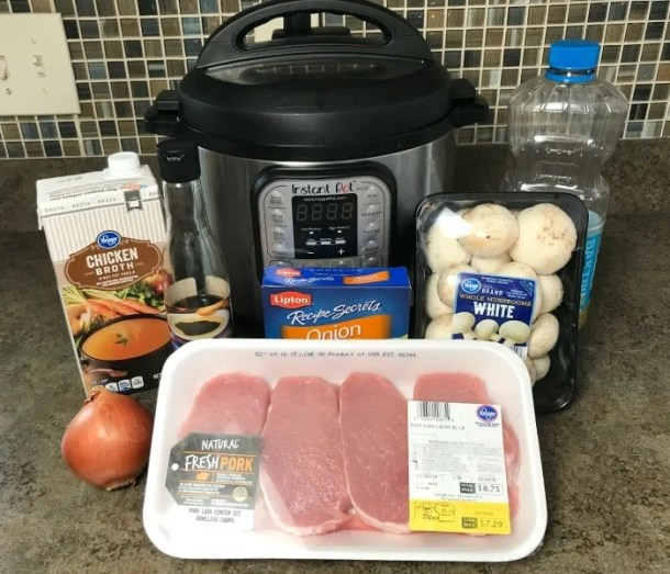 Ingredients for Instant Pot Pork Chops with Mushroom and Onion Gravy