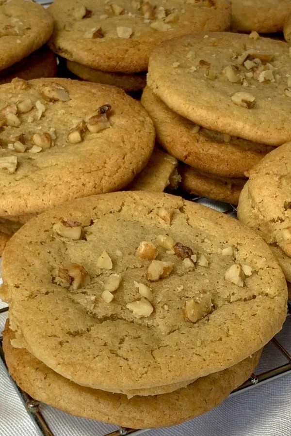 Butterscotch Refrigerator Cookies are soft and chewy and almost taste like a Pecan Sandie! These cookies are perfect for potlucks and have a wonderful butterscotch flavor that isn't too overpowering.