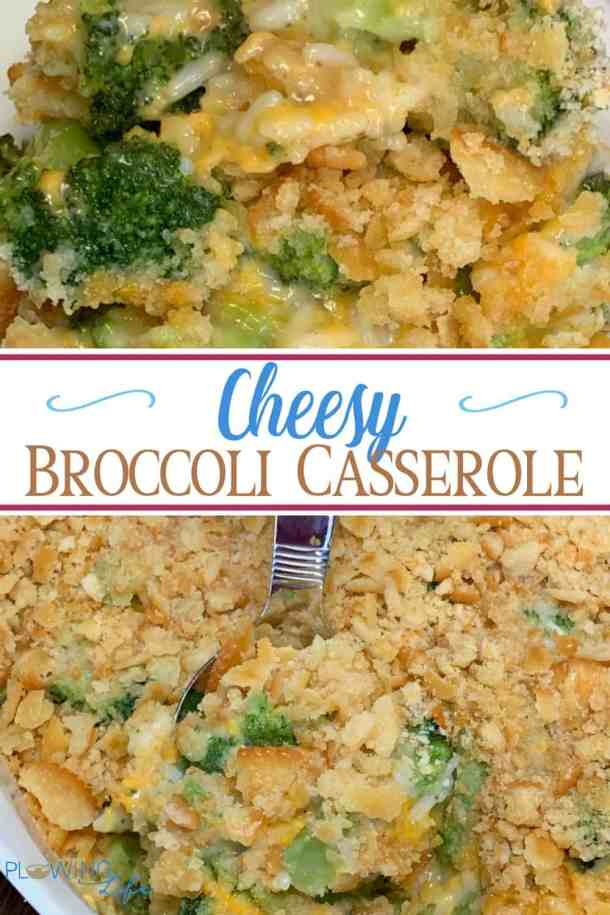 Easy broccoli and rice casserole with cheese and Ritz crackers