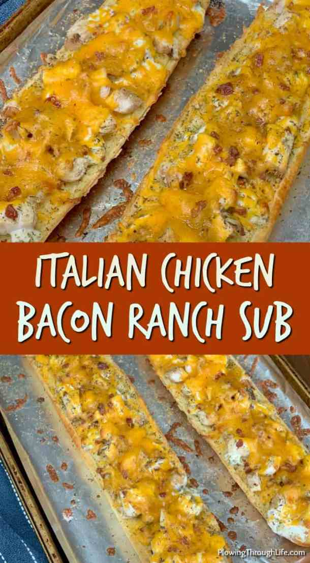 Delicious and SUPER easy to make, this Italian Chicken Bacon Ranch Sub makes a nice dinner in a hurry! Chicken, bacon, cheese and ranch dressing slathered over a loaf of garlic toast is irresistible!
