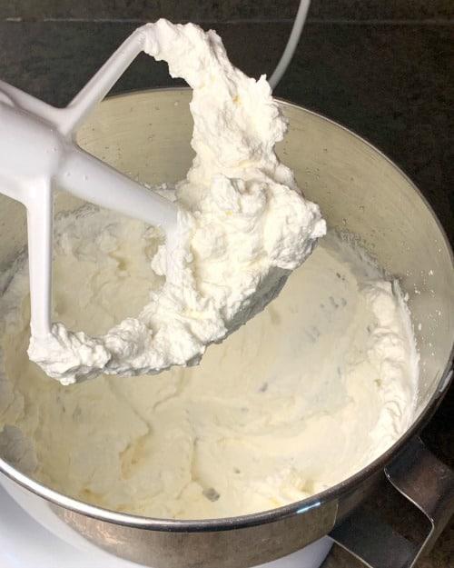 whipping cream with a stiff peak