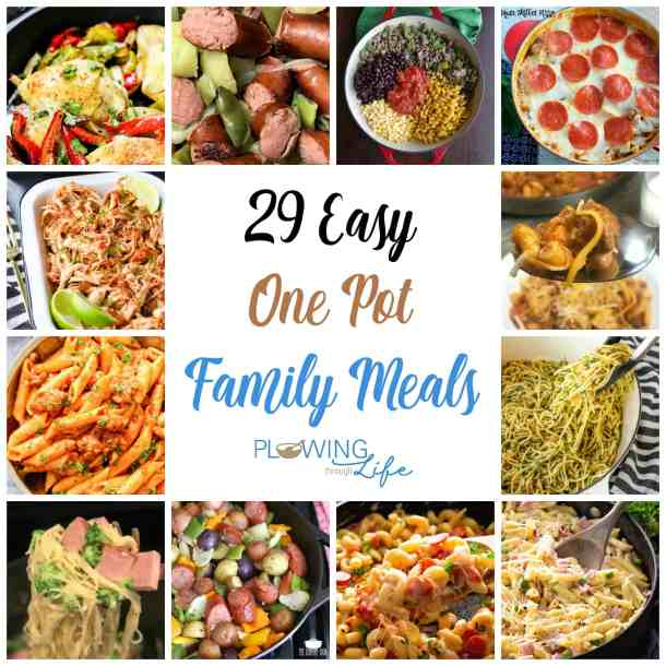 Are you on the hunt for one pot recipes that save time and dishes? These 29 One Pot Family meal ideas must be worked into the meal plan! This collection of easy family dinner ideas should help add more variety to the menu and make everyone around the table happy!