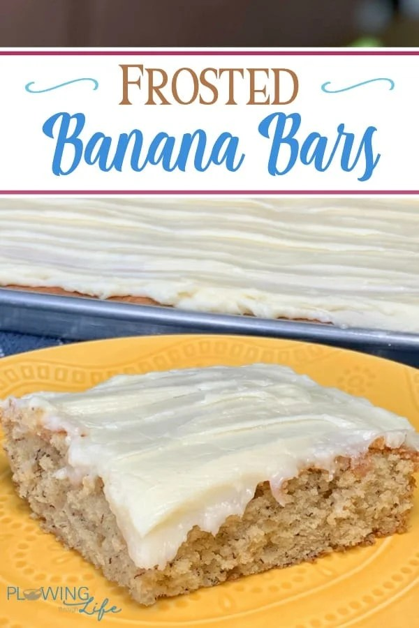 Are you looking for a banana recipe idea and craving a sweet dessert?  These Frosted Banana Bars are the perfect way to use bananas that are about to go bad in a delicious cake topped with cream cheese icing!