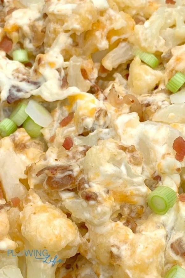 close up loaded cauliflower casserole