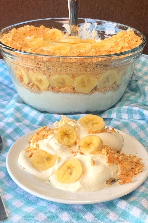 This creamy no-bake banana dessert is so easy and a real crowd pleaser!  Banana Creamer is cool and refreshing for hot summer days.  We love sharing this banana cream dessert with graham crackers at potlucks and picnics!