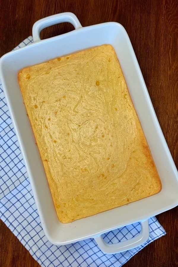 9 x 13 pan of corn casserole made with jiffy muffin mix