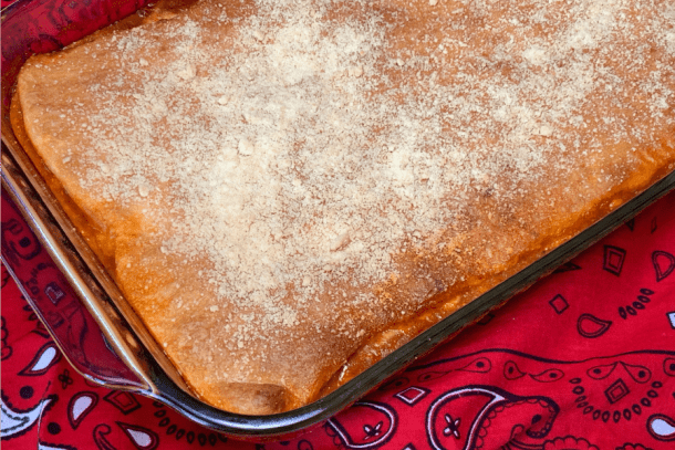 Upside-Down Pizza Casserole has plenty of pizza sauce in the bottom so it won't dry out during baking or when being reheated.