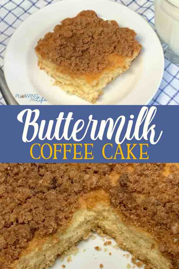 This rich buttermilk cake with a sweet brown sugar streusel topping is so easy to make in a 9x13 pan and it's irresistible!  Homemade Buttermilk Coffee Cake is perfect for a special brunch on Christmas or Easter or an easy dessert any day of the year! #easycake #coffeecake