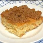 Piece of buttermilk coffee cake with brown sugar and cinnamon streusel