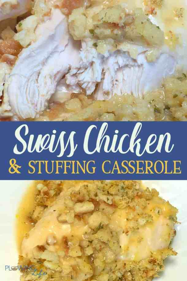 chicken breast with swiss cheese, chicken soup and stuffing casserole on plate