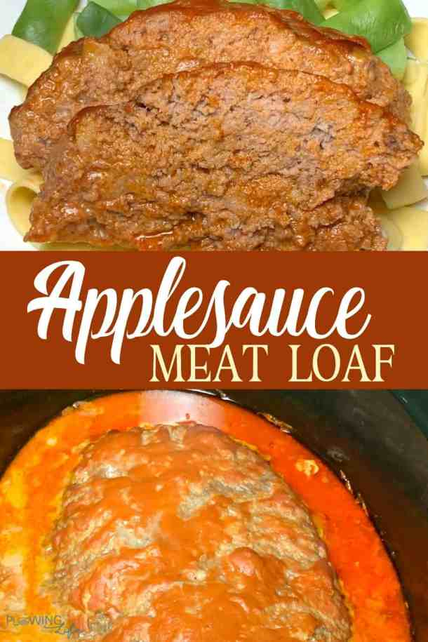 collage with 2 slices of ground beef applesauce meatloaf and part of meat loaf in slow cooker