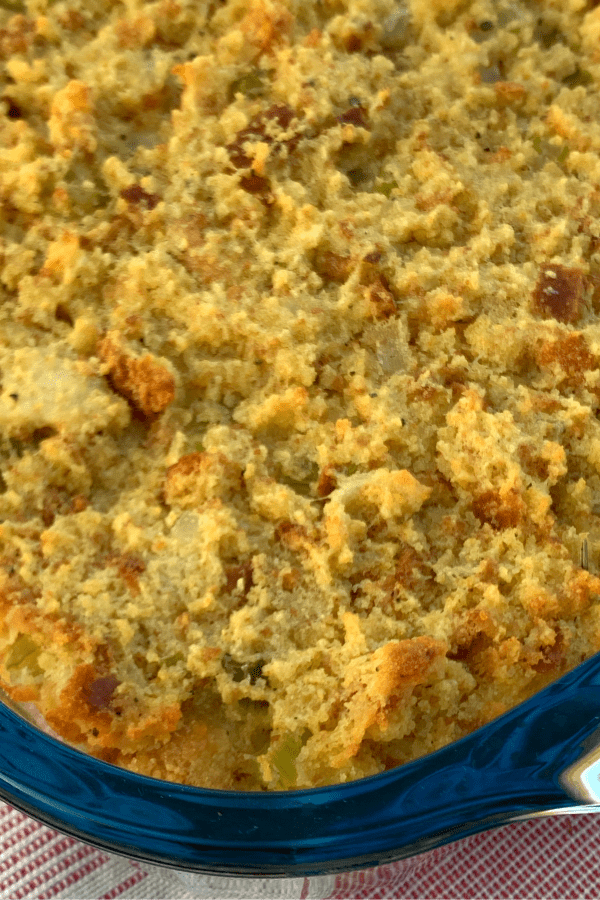 zoomed in homemade cornbread dressing in pan