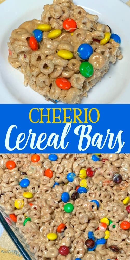 Collage of cheerio cereal bars made with Cheerios, marshmallows, peanut butter and m&ms