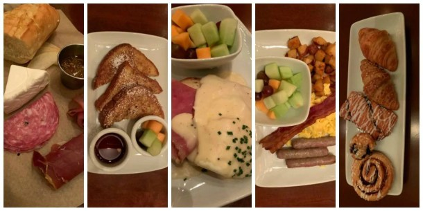 Plates of food served at breakfast along with pastries at Be Our Guest Restaurant