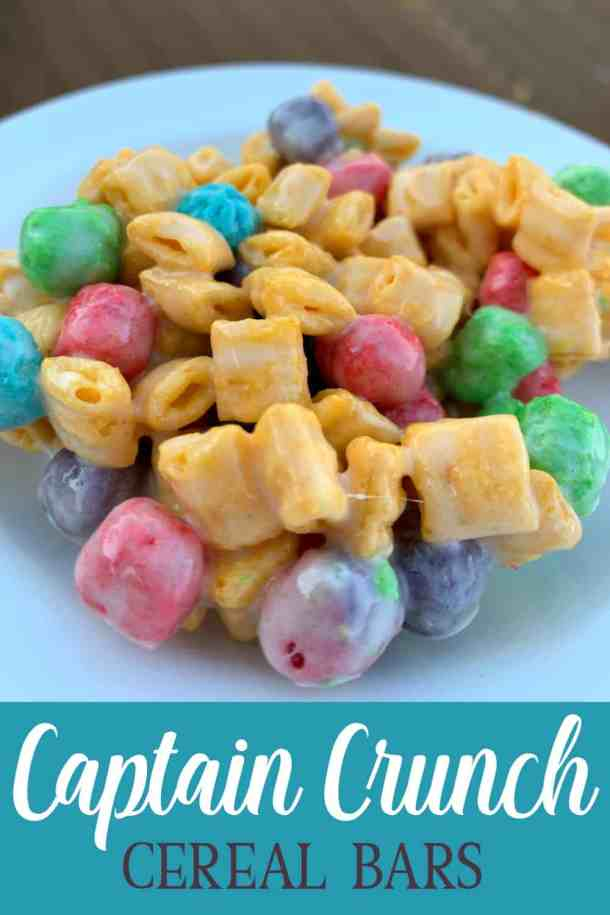 Colorful Captain Crunch cereal bar on a white plate