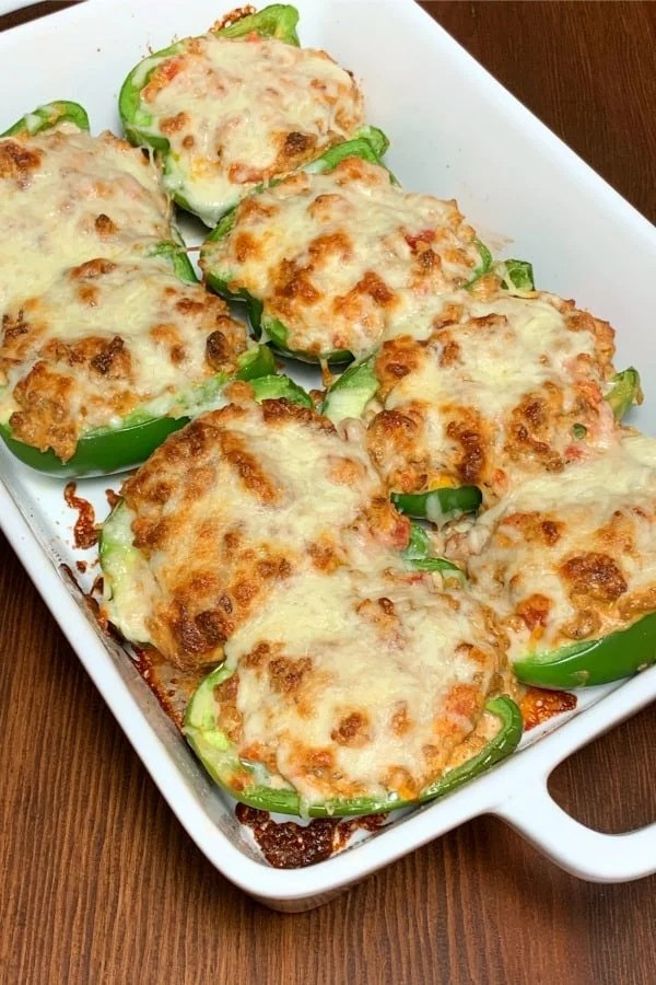 Italian Sausage and ground pork stuffed in green peppers and baked