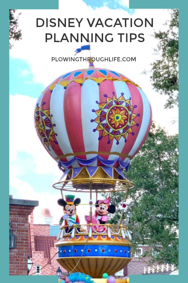 Parade at Disney World with text saying Disney Vacation Planning Tips