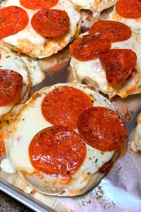 Baked air fryer mini pizzas on English Muffins