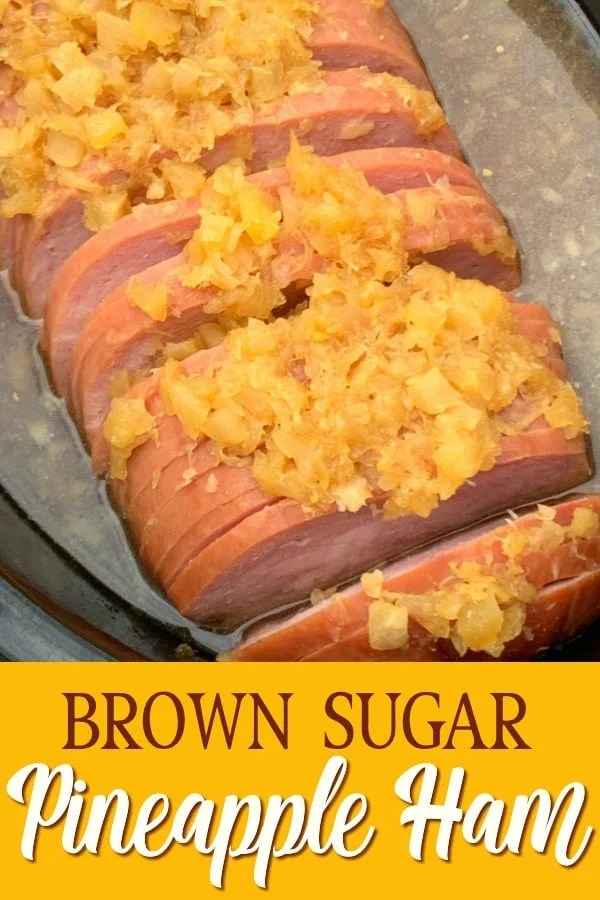 Brown Sugar Pineapple Ham with text