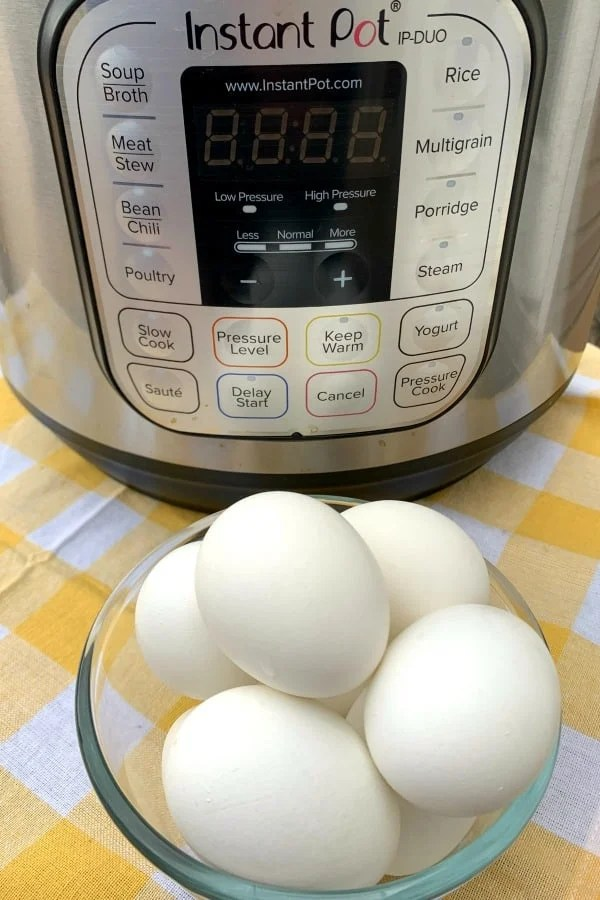 Boiled eggs in bowl in front of Instant Pot duo