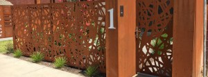 'Road Maps' Fencing, Gate and Mailbox (Corten)