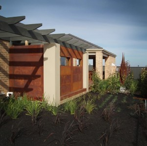 Corten Cladding and 'Twin Flame' Sculpture