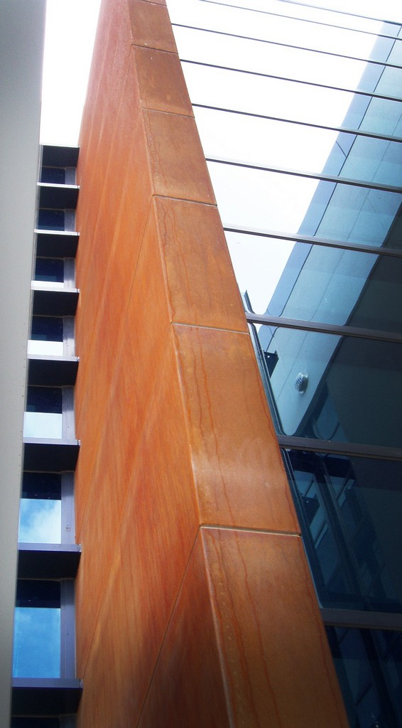 External building facade in Corten Cladding