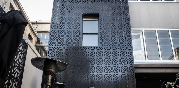Laser cut external building facade