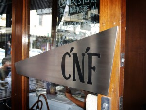 C'N'F Cafe-Bar, South Yarra - Door Sign with Enamel Inlay