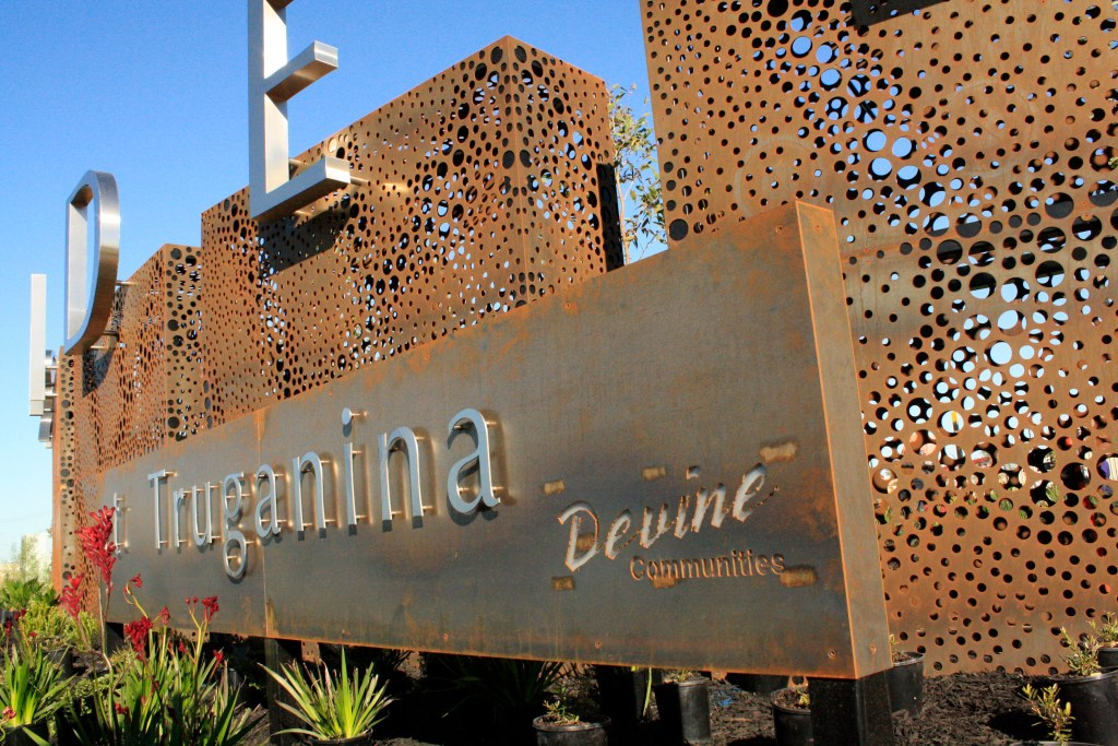 Arndell at Truganina Corten steel signage by PLR Design