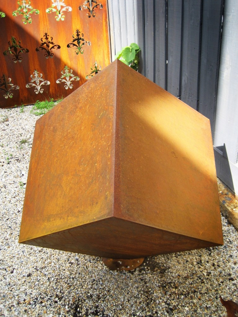 Qube Corten steel sculpture by PLR Design