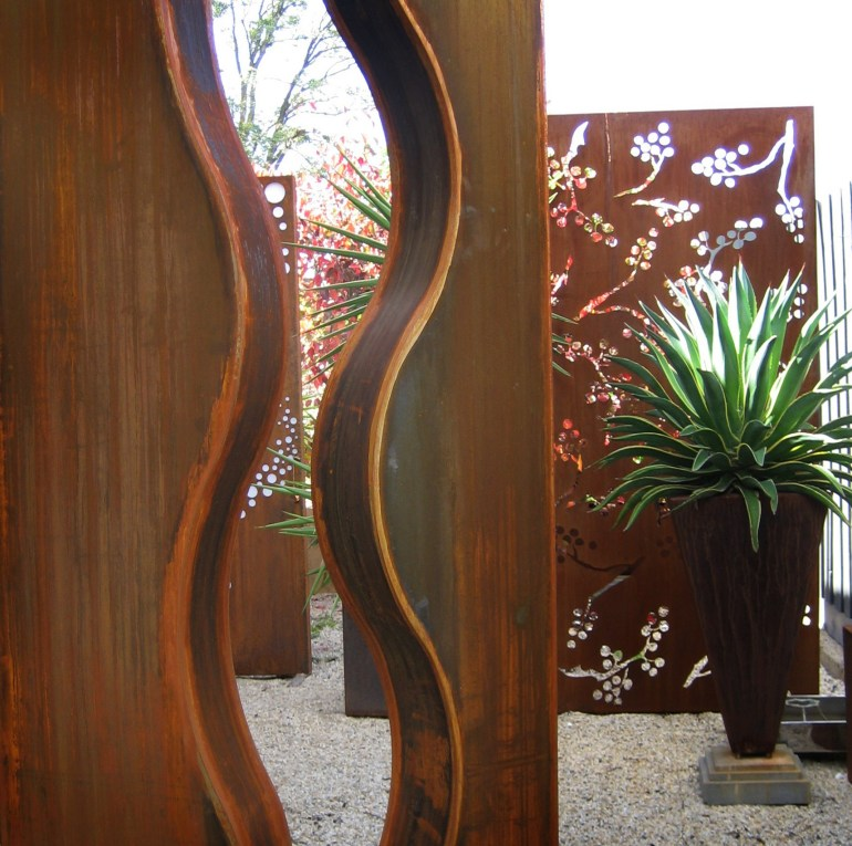 Wave Corten steel sculpture close up