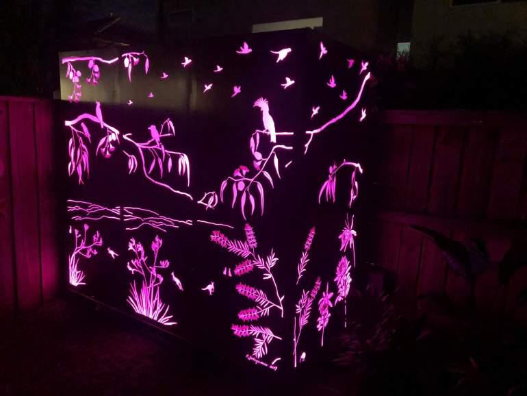Laser cut corten lightbox corner screen