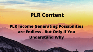 PLR Income Generating Possibilities are Endless - But Only if You Understand Why
