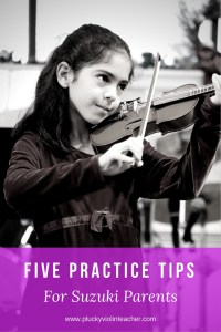 Practicing with your child can be tough! Check out these five practice ideas for Suzuki parents to make your practice sessions a little easier.