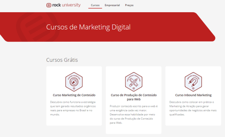 Interface da plataforma da Rock Content University, repleta de cursos de marketing digital grátis.