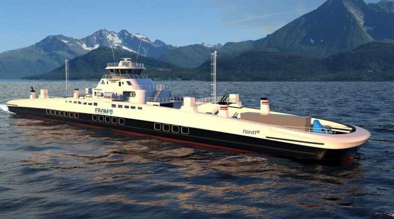 An electric car ferry made by Havyard