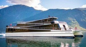 a stylish passenger ferry with angled decks like a stairway