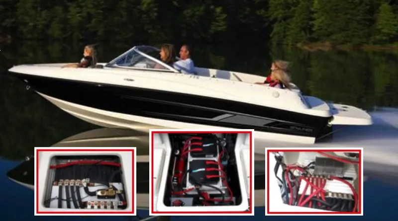 A Bayliner boat with family speeding along a lake with insets of photos of electric motor elements