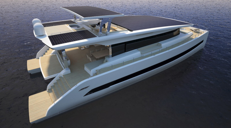 A luxury megayacht with solar panel on the roofs